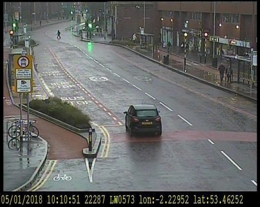 Car alone on bus lane